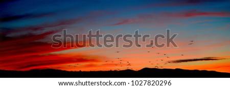 sunset over the hills full of...
