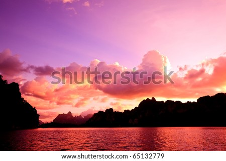 Sunset over the lake