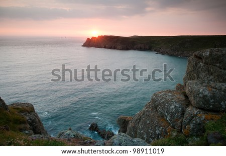 Sunset over the Land's end, Cornwall. England