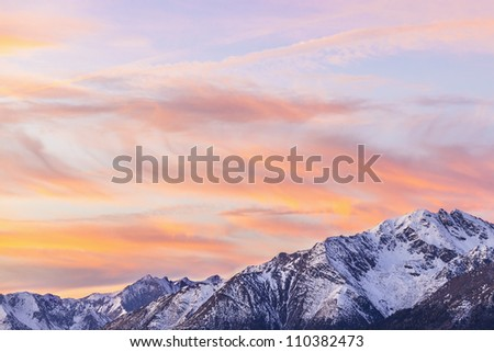 Sunset over the mountain peaks