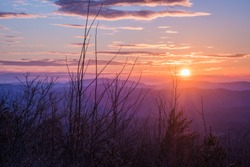 Sunset over the mountains of the Cherokee National Forest, Cherohala Skyway, Southeastern Tennesee, USA