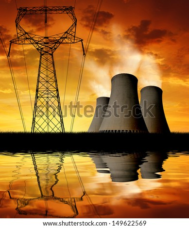 Sunset over the nuclear power plant