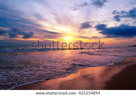 sunset over the ocean #425254894