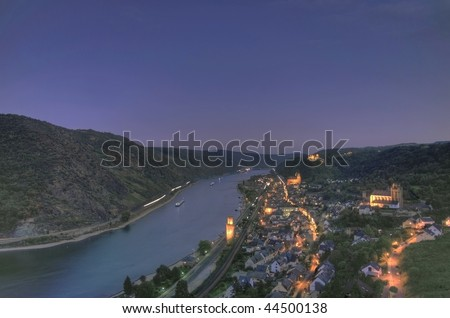 "sunset over the rhine river valley at ""Oberwesel"" Germany"