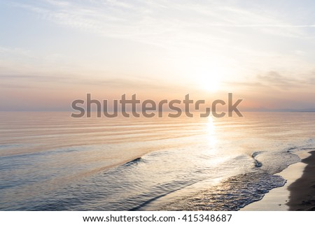 stock photo sunset over the sea beach 415348687 - Каталог — Фотообои «Море, пляж»