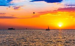 Sunset over the sea horizon. Sunset sea horizon. Sunset sea horizon. Sunset sea sky