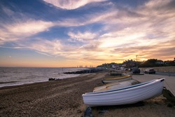 Sunset over the seafront at Felixstowe in Suffolk, UK