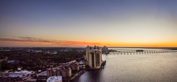 Sunset over the skyline of downtown Fort Myers, Fl.