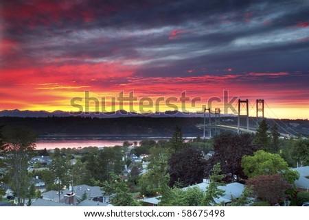 sunset over the tacoma narrows bridge