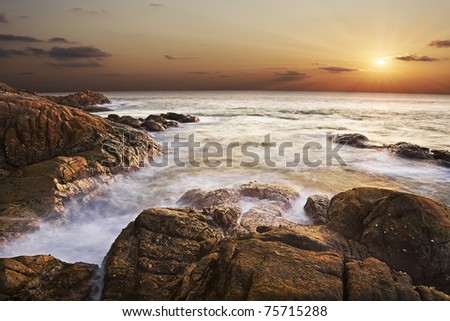 Sunset over the tropical sea ( long exposure shot )