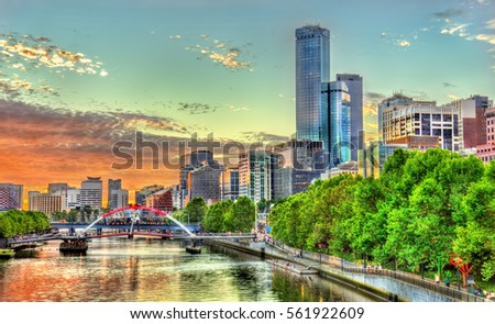 Sunset over the Yarra River in Melbourne - Australia, Victoria