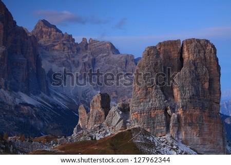 Sunset over Tofana di Rozes and Cinque Torre, Dolomite Alps, Italy
