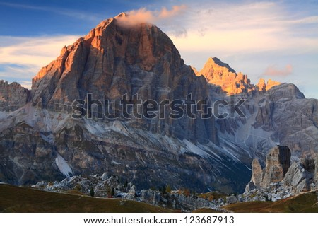 Sunset over Tofana di Rozes, Dolomite Alps, Italy #123687913