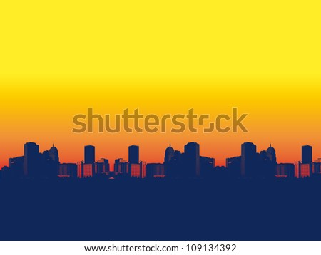 sunset over town