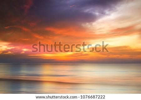 Sunset over tropical sea, long exposure, Phuket, Thailand. #1076687222