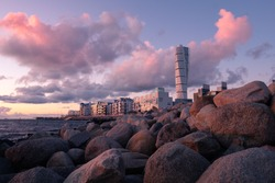 Sunset over Västra Hamnen in Malmö