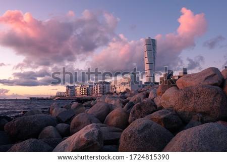 Sunset over Västra Hamnen in Malmö Stock photo ©