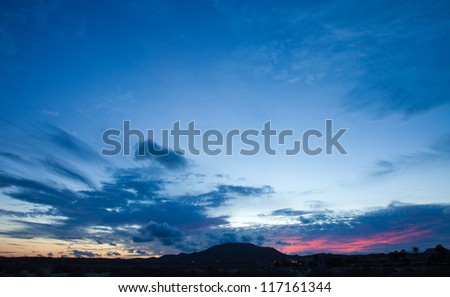 Sunset over volcano Bayuyo, Corralejo, Northern Fuerteventura