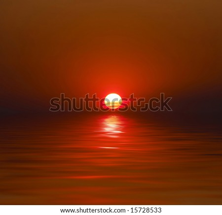 Sunset over water - stock photo