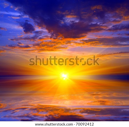 Sunset over water surface