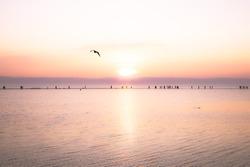 Sunset over West Kirby Marine Lake