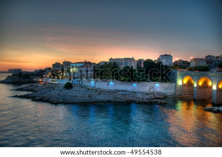 Sunset overlooking the city of Marseille in Cote d'Azur department of France