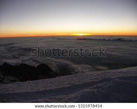 Sunset panorama from the ridge above Gouter house on Mont Blanc #1315978454