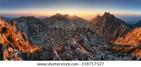 Sunset panorama mountain nature autumn landscape, Slovakia #318717527