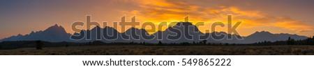 Sunset panorama of Grand Teton Mountain Range  #549865222