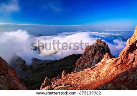 Sunset Panorama of Schalbus-Dag mountain at Dagestan, Caucasus Russia