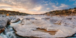 Sunset Panorama of the Pedernales River at Pedernales Falls State Park - Jonhson City Hill Country