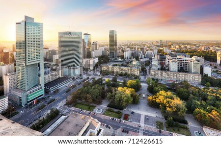 Sunset panorama of Warsaw, capital of Poland, Europe #712426615