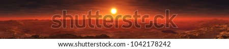 Sunset panorama on the red planet Mars 3D rendering