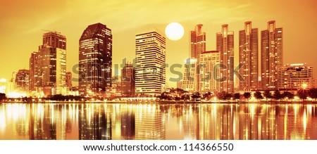 sunset panorama scenes of city