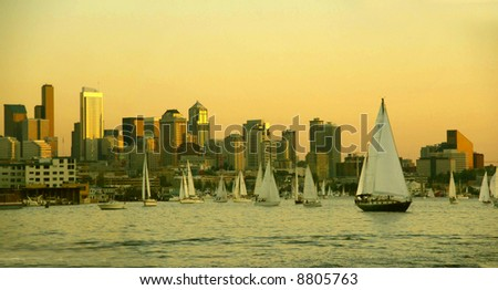 Sunset panorama, Seattle skyline, sailboats & marina, 		Lake Union,	Seattle, Pacific Northwest - stock photo