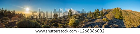 Sunset Panorama while hiking in Teide National Park Tenerife near Las Lajas town of Vilaflor looking west in january #1268366002