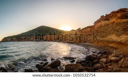 sunset panoramas in cala de ibiza #1050532754
