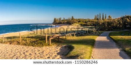 Sunset panoramic view of Shelly Beach at Caloundra, Sunshine Coast, Queensland, Australia