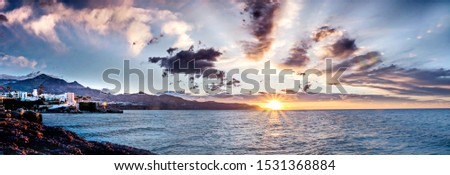 Sunset, Photograph of Nerja, Málaga, Spain, one of the most important tourist destinations of the Mediterranean Coast, Mediterranean Sea,peace, calm, serenity, harmony, fullness,  #1531368884