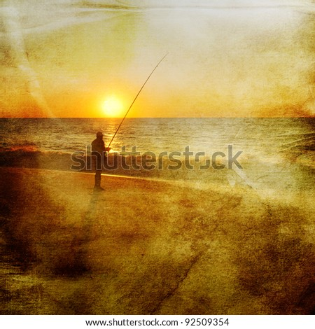 sunset picture of an angler at the atlantic coast with antique paper texture