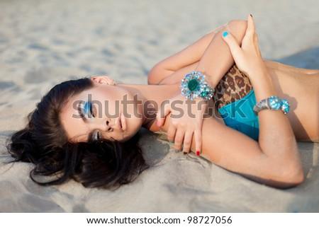 Sunset portrait of a glamorous girl