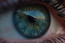 Sunset reflected in eye