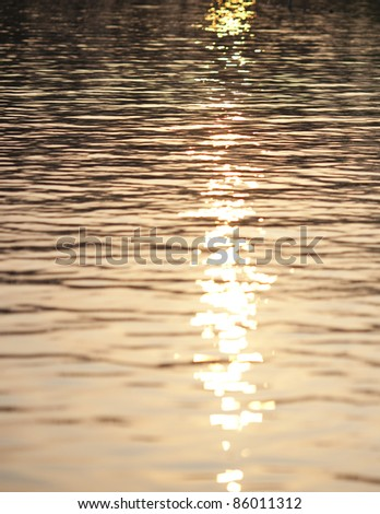 sunset reflecting on the surface of lake water