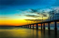 Sunset river bridge sky clouds