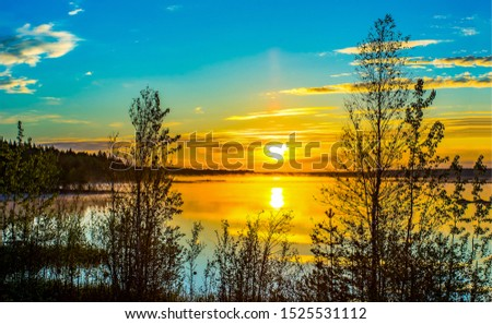 Sunset river horizon sky landscape. River sunset fog view. Sunset river fog scene. Sunset river landscape