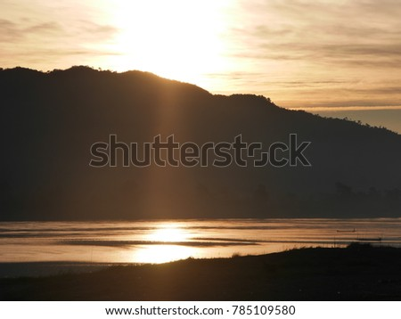 Sunset river landscape simple life and simple lifestyle #785109580