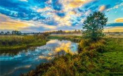 Sunset river water nature landscape