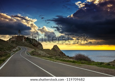 Sunset road on the coast of the natural park of Cabo de Gata