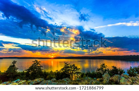 Sunset rural lake sky clouds landscape. Lake sunset scene. Sunset lake view