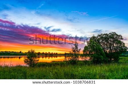 Sunset rural river summer landscape